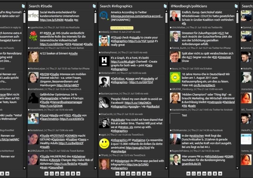 Tweetdeck: Ob #infografics, #Studie oder meine Liste #Politicians - schnell gesehen und gefunden.
