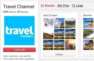 Travelchannel: Pinnt noch etwas unbeholfen, hat aber schon viele Follower! pinterest.com/travelchannel