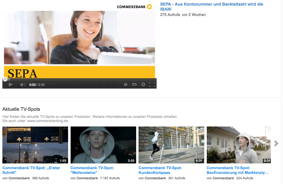 Commerzbank YouTube Channel