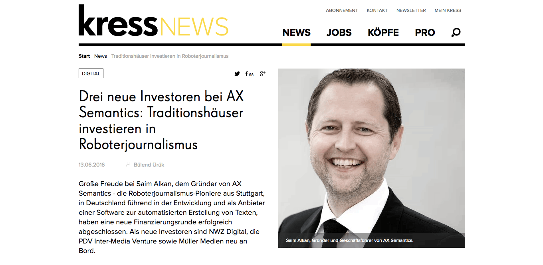 AX Semantics Mit Neuer Finanzierung In Aller Munde – Von Kress Bis The Heureka