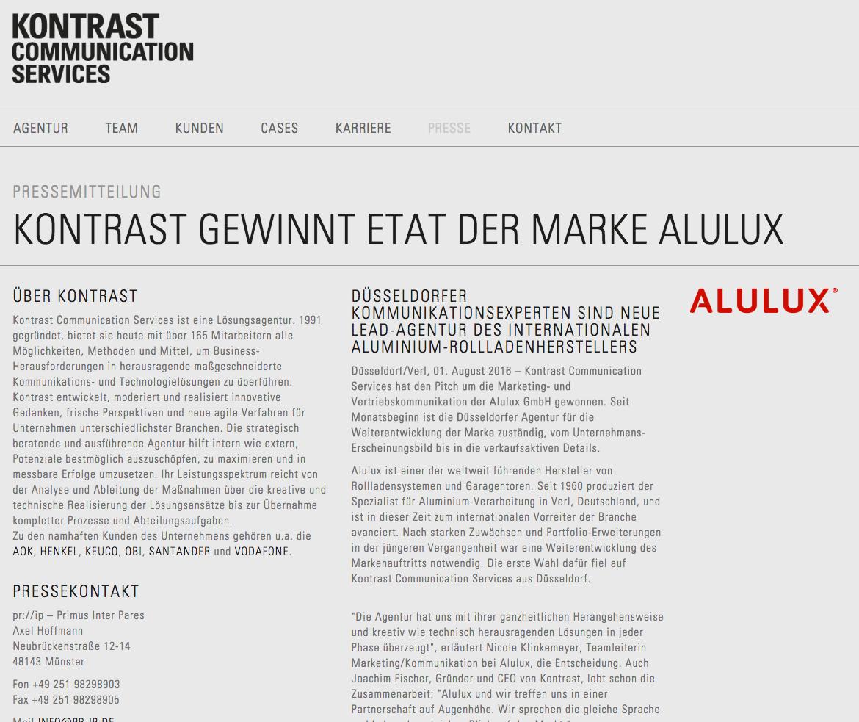 Kontrast Gewinnt Etat Der Marke Alulux